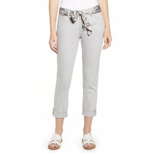 Jag Girlfriend Gray Satin Belted Skinny Crop Jeans